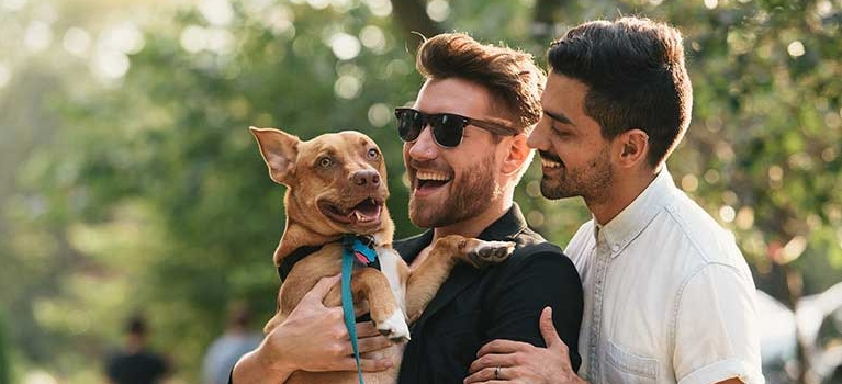 Male couple holding dog